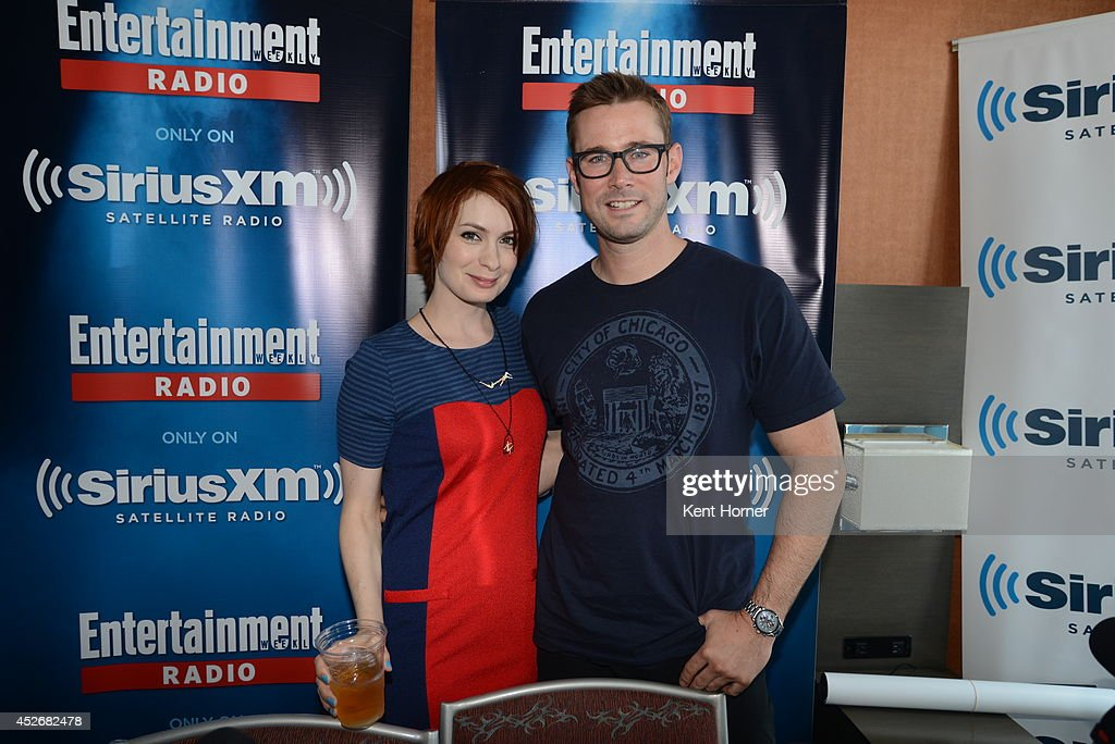 Felicia Day poses with radio host Matt Bean after being interviewed on SiriusXM's Entertainment Weekly Radio channel from Comic-Con 2014 at The Hard Rock Hotel on July 25, 2014 in San Diego, California.