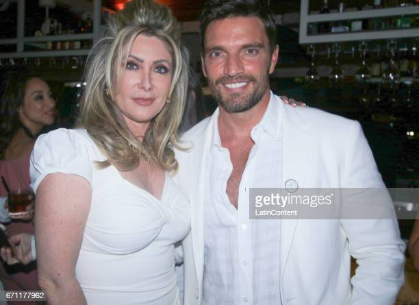 Felicia Mercado and Julian Gil pose at River Yatch Club during the US launch of Carson Life on April 20 2017 in Miami Us