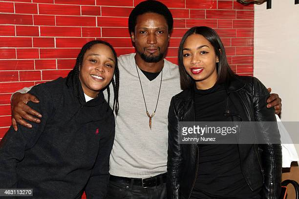 Felicia 'Snoop' Pearson Elvis Nolasco and Zaraah Abrahams attend 'Da Sweet Blood Of Jesus' dinner reception at Red Stixs on February 9 in New York...