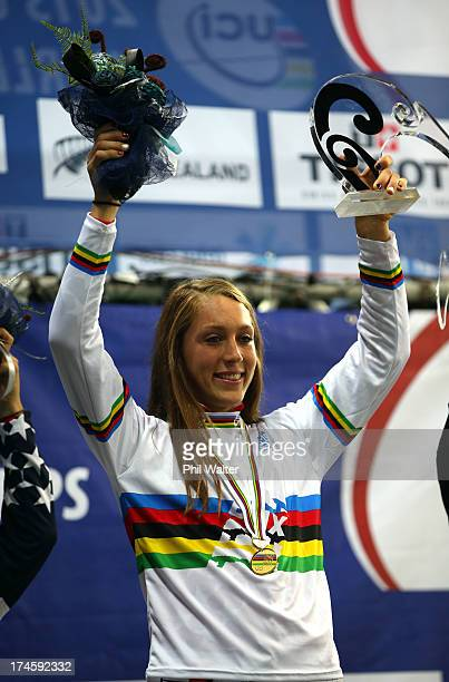 Felicia Stancil of the USA celebrates winning the Junior Womens Final during day five of the UCI BMX World Championships at Vector Arena on July 28...