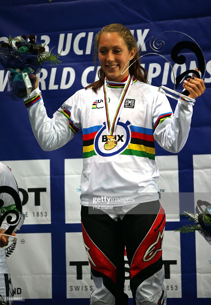 Felicia Stancil of the USA celebrates winning the Junior Womens Time Trial during day four of the UCI BMX World Championships at Vector Arena on July 27, 2013 in Auckland, New Zealand.