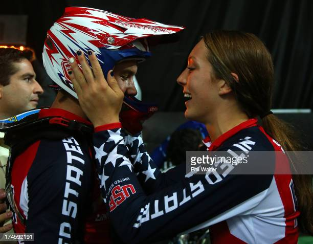Felicia Stancil of the USA congratulates Sean Gaian of the USA after winning the Mens Junior Final during day five of the UCI BMX World Championships...
