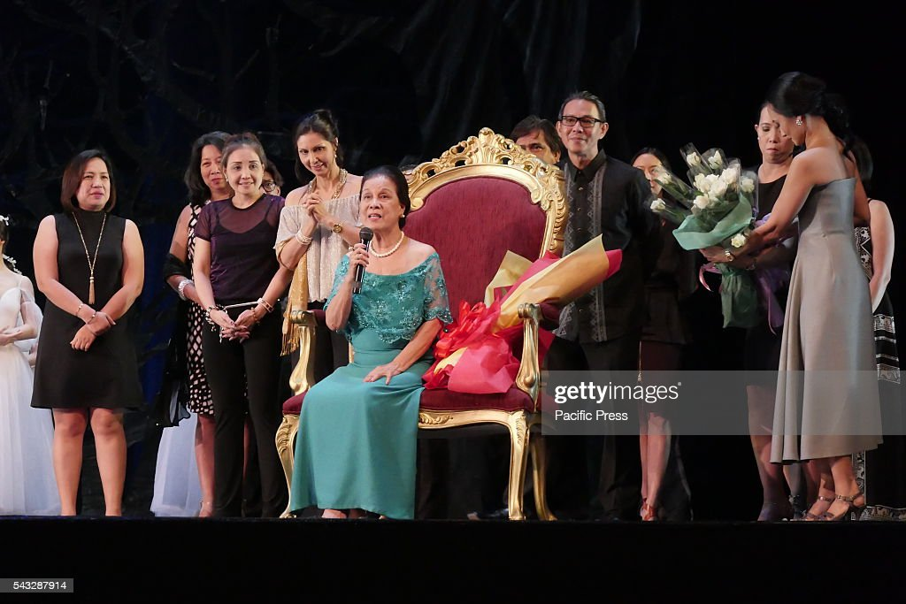 Felicia 'Tita' Layag Radaic seated on a throne to give a speech how theater and ballet contributed to the history of the country She is also asking...