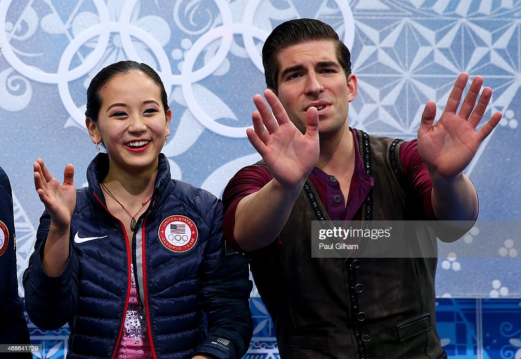 <a gi-track='captionPersonalityLinkClicked' href=/galleries/search?phrase=Felicia+Zhang&family=editorial&specificpeople=7338307 ng-click='$event.stopPropagation()'>Felicia Zhang</a> and Nathan Bartholomay of the United States react after they compete during the Figure Skating Pairs Short Program on day four of the Sochi 2014 Winter Olympics at Iceberg Skating Palace on February 11, 2014 in Sochi, Russia.