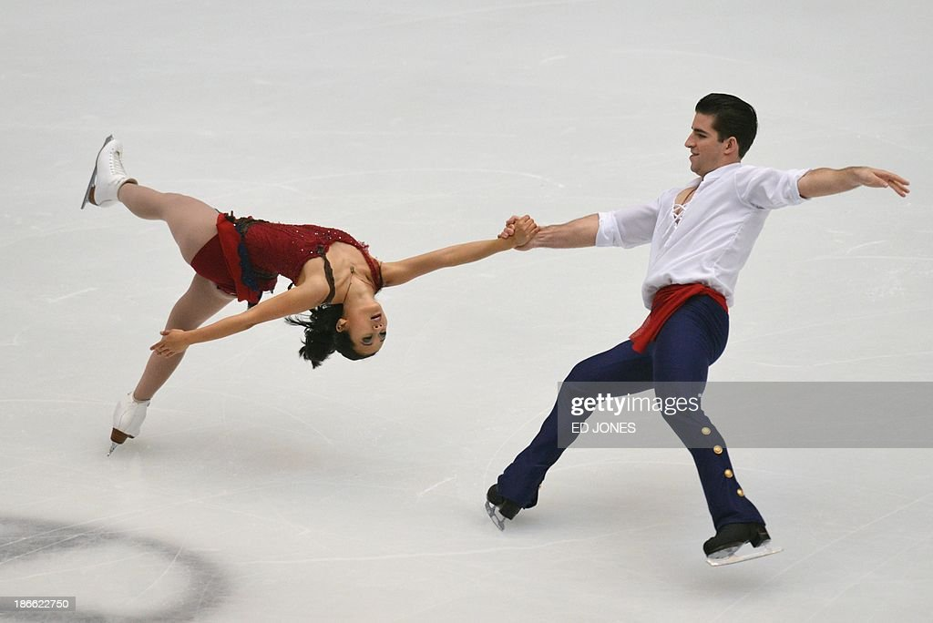 Felicia Zhang and Nathan Bartholomay of the US compete during the Pairs Free Skating event of the Cup of China ISU Grand Prix Figure Skating in Beijing on November 2, 2013. Zhang and Bartholomay finished with a score of 155.52 for 7th place.