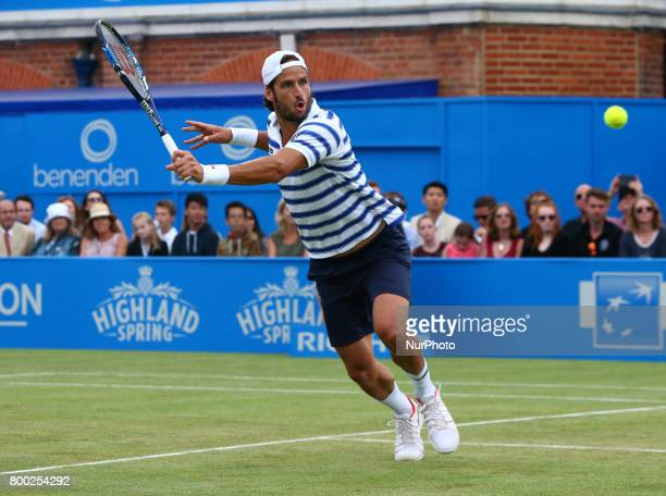 Feliciano Lopez against Tomas Berdych CZE during Men's Singles Quarter Final match on the fourth day of the ATP Aegon Championships at the Queen's...