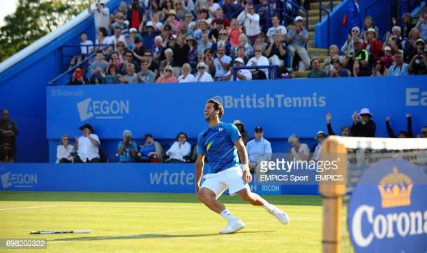 Feliciano Lopez celebrates beating Richard Gasquet in the Men's Singles Final