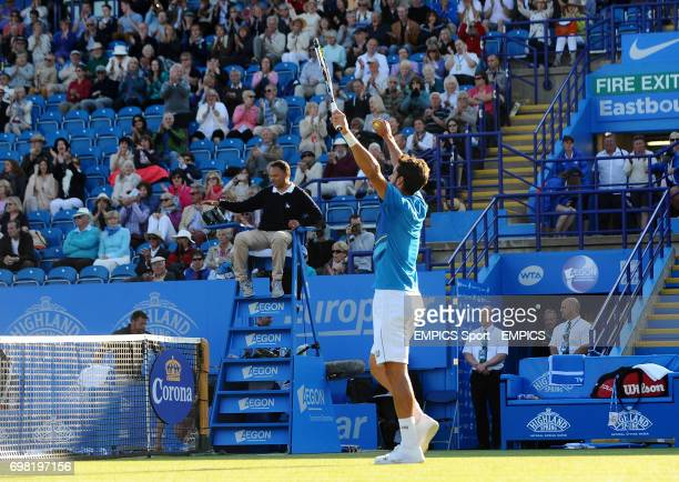 Feliciano Lopez celebrates beating Sam Querry during the AEGON International at Devonshire Park Eastbourne