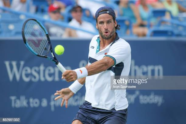 Feliciano Lopez hits a backhand during the Western Southern Open at the Lindner Family Tennis Center in Mason Ohio on August 16 2017
