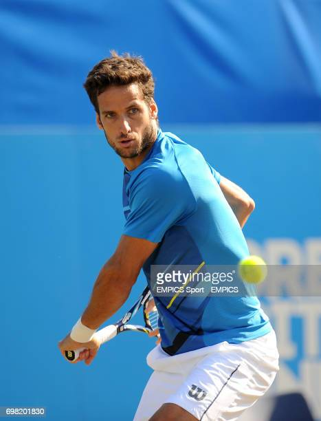 Feliciano Lopez in action against Richard Gasquet in the Men's Singles Final