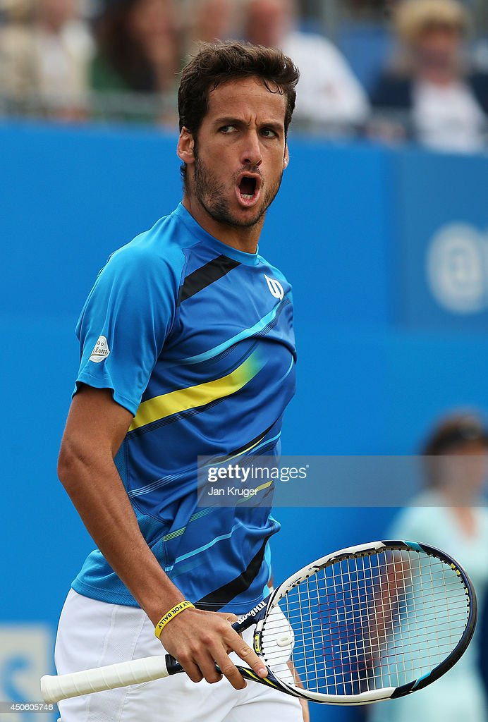 Feliciano Lopez of Spain celebrates as he defeats Radek Stepanek of the Czech Republic of Switzerland during their Men's Singles semi-final match on day six of the Aegon Championships at Queens Club on June 14, 2014 in London, England.