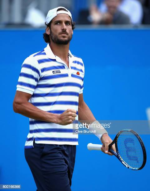 Feliciano Lopez of Spain celebrates during the mens singles quarter final match against Thomas Berdych of The Czech Republic on day five of the 2017...
