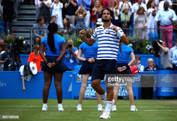 Feliciano Lopez of Spain celebrates victory during the mens singles quarter final match against Thomas Berdych of The Czech Republic on day five of...