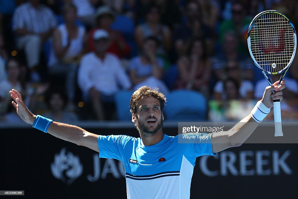 <a gi-track='captionPersonalityLinkClicked' href=/galleries/search?phrase=Feliciano+Lopez&family=editorial&specificpeople=206172 ng-click='$event.stopPropagation()'>Feliciano Lopez</a> of Spain celebrates winning in his third round match against Jerzy Janowicz of Poland during day six of the 2015 Australian Open at Melbourne Park on January 24, 2015 in Melbourne, Australia.