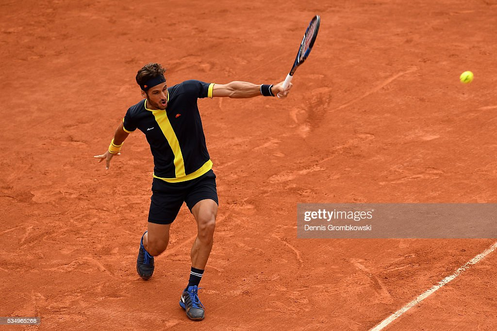 <a gi-track='captionPersonalityLinkClicked' href=/galleries/search?phrase=Feliciano+Lopez&family=editorial&specificpeople=206172 ng-click='$event.stopPropagation()'>Feliciano Lopez</a> of Spain hits a forehand during the Men's Singles third round match against David Ferrer of Spain on day seven of the 2016 French Open at Roland Garros on May 28, 2016 in Paris, France.