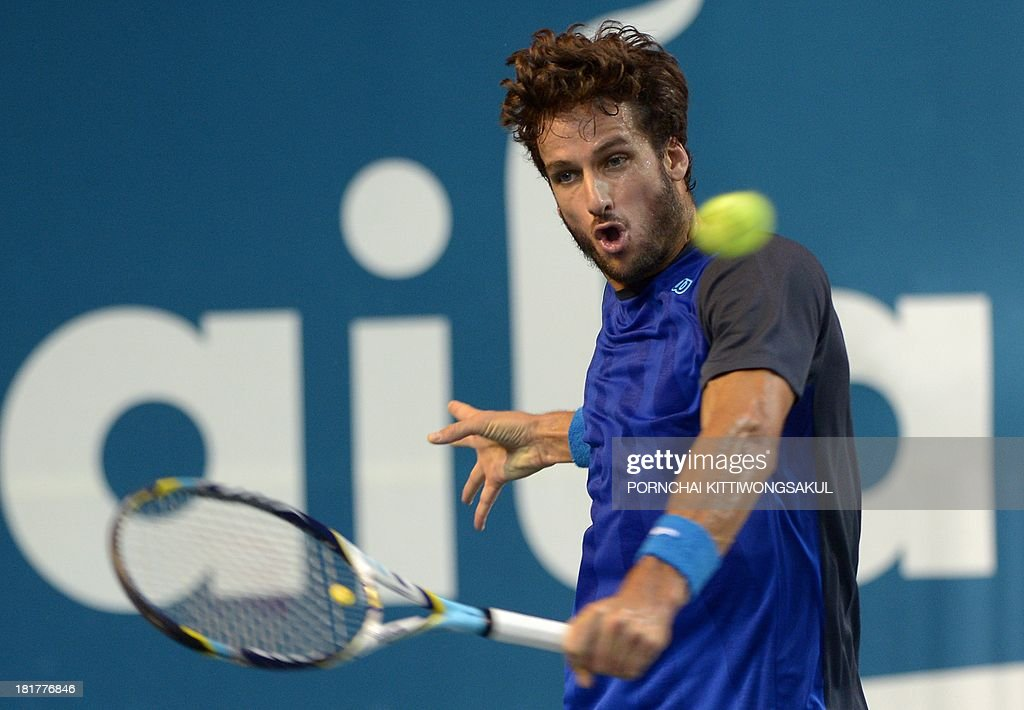 Feliciano Lopez of Spain hits the ball as return to Go Soeda of Japan during the second round of Tennis ATP Thailand Open 2013 tournament in Bangkok on September 25, 2013.