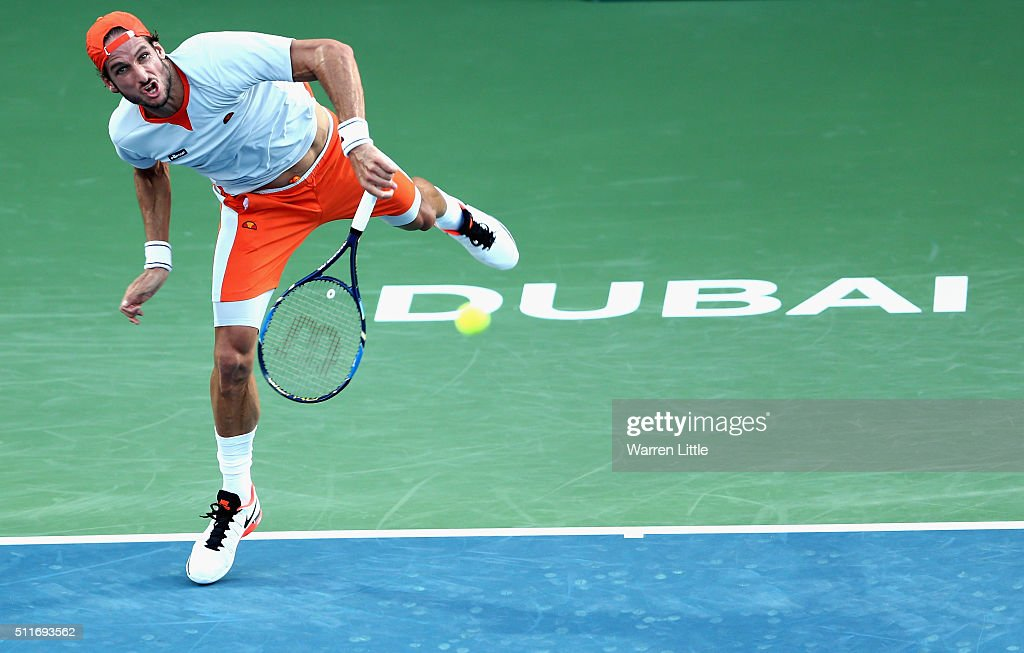 <a gi-track='captionPersonalityLinkClicked' href=/galleries/search?phrase=Feliciano+Lopez&family=editorial&specificpeople=206172 ng-click='$event.stopPropagation()'>Feliciano Lopez</a> of Spain in action against Guillermo Garcia-Lopez of Spain during day two of the ATP Dubai Duty Free Tennis Championship at the Dubai Duty Free Stadium on February 22, 2016 in Dubai, United Arab Emirates.