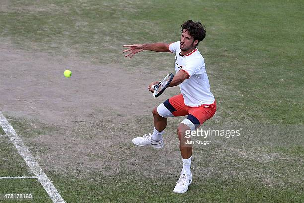Feliciano Lopez of Spain in action against Taylor Harry Fritz of USA on day three of the Aegon Open Nottingham at Nottingham Tennis Centre on June 23...