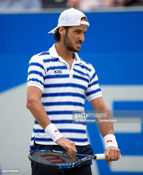 Feliciano Lopez of Spain in action against Tomas Berdych of The Czech Republic in their Men's Singles Quarter Final Match during Day 5 of the Aegon...