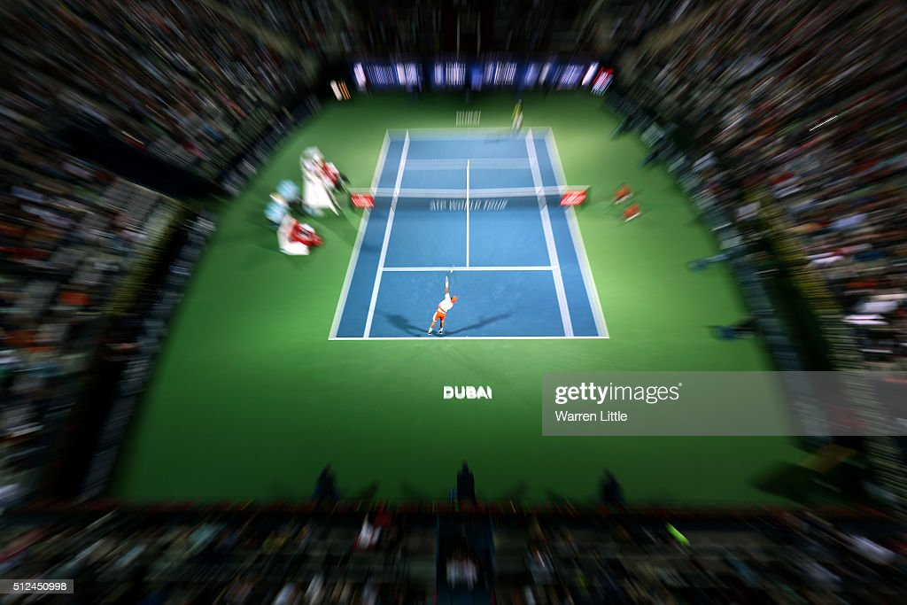 <a gi-track='captionPersonalityLinkClicked' href=/galleries/search?phrase=Feliciano+Lopez&family=editorial&specificpeople=206172 ng-click='$event.stopPropagation()'>Feliciano Lopez</a> of Spain in action during his semi final match against <a gi-track='captionPersonalityLinkClicked' href=/galleries/search?phrase=Marcos+Baghdatis&family=editorial&specificpeople=226943 ng-click='$event.stopPropagation()'>Marcos Baghdatis</a> of Cyrus on day seven of the ATP Dubai Duty Free Tennis Championship at the Dubai Duty Free Stadium on February 26, 2016 in Dubai, United Arab Emirates.