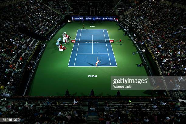 Feliciano Lopez of Spain in action during his semi final match against Marcos Baghdatis of Cyrus on day seven of the ATP Dubai Duty Free Tennis...