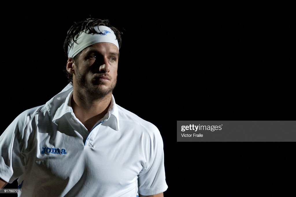 Feliciano Lopez of Spain looks on before his match against compatriot Guillermo Garcia-Lopez during day one of 2009 Shanghai ATP Masters 1000 at the Qi Zhong Tennis Centre in Shanghai.