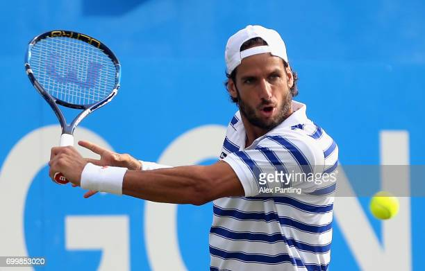 Feliciano Lopez of Spain plays a backhand during the mens singles second round match against Jeremy Chardy of France on day four of the 2017 Aegon...