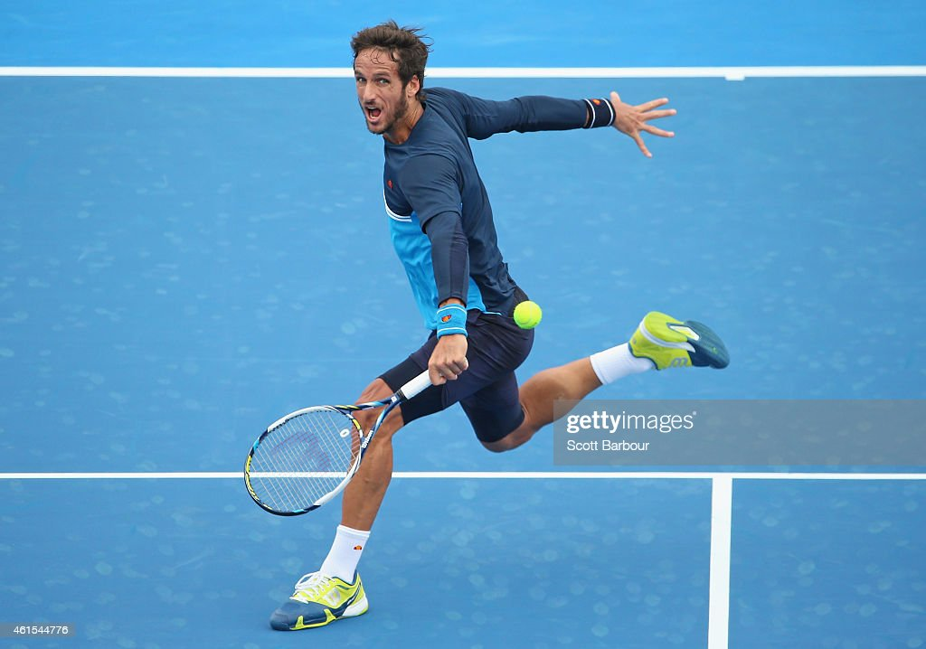 Feliciano Lopez of Spain plays a forehand during his match against Jordan Thompson of Australia during day three of the 2015 Priceline Pharmacy Classic at Kooyong on January 15, 2015 in Melbourne, Australia.
