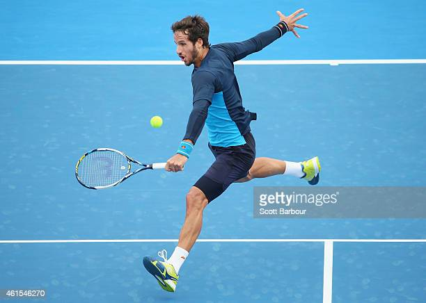 Feliciano Lopez of Spain plays a forehand during his match against Jordan Thompson of Australia during day three of the 2015 Priceline Pharmacy...
