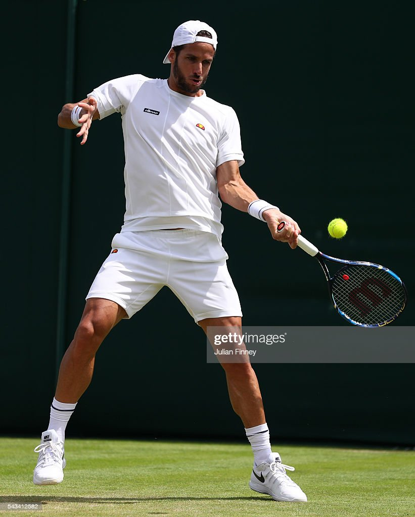 <a gi-track='captionPersonalityLinkClicked' href=/galleries/search?phrase=Feliciano+Lopez&family=editorial&specificpeople=206172 ng-click='$event.stopPropagation()'>Feliciano Lopez</a> of Spain plays a forehand during the Men's Singles first round match against Rajeev Ram of The United States on day two of the Wimbledon Lawn Tennis Championships at the All England Lawn Tennis and Croquet Club on June 28, 2016 in London, England.