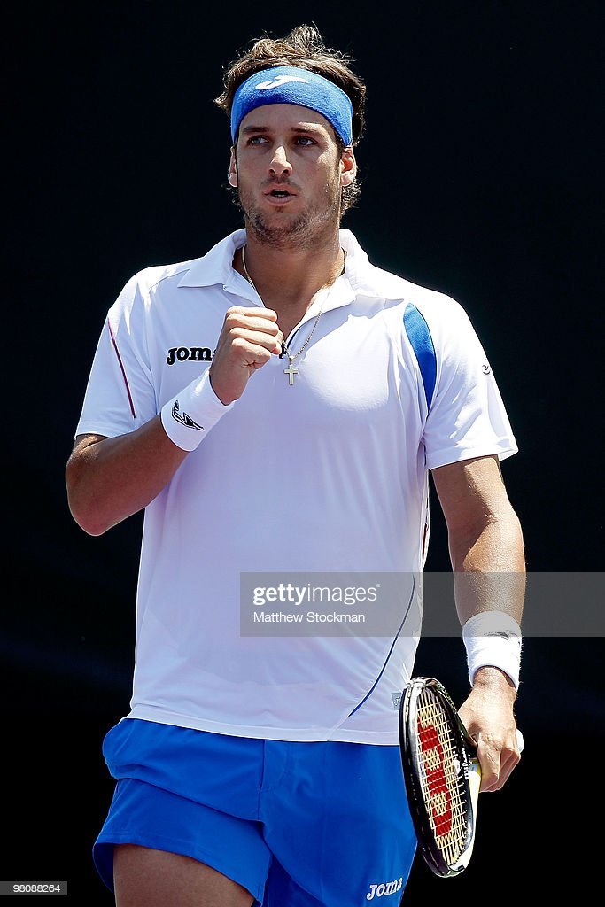 <a gi-track='captionPersonalityLinkClicked' href=/galleries/search?phrase=Feliciano+Lopez&family=editorial&specificpeople=206172 ng-click='$event.stopPropagation()'>Feliciano Lopez</a> of Spain reacts after a point against Michael Berrer of Germany during day five of the 2010 Sony Ericsson Open at Crandon Park Tennis Center on March 27, 2010 in Key Biscayne, Florida.