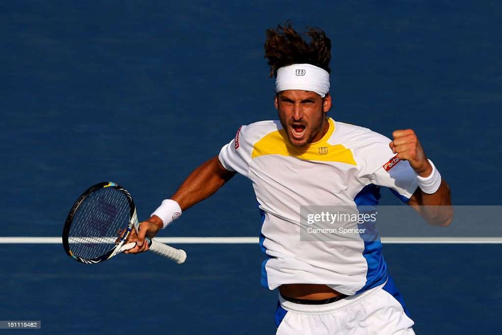<a gi-track='captionPersonalityLinkClicked' href=/galleries/search?phrase=Feliciano+Lopez&family=editorial&specificpeople=206172 ng-click='$event.stopPropagation()'>Feliciano Lopez</a> of Spain reacts against Andy Murray of Great Britain during their men's singles third round match on Day Six of the 2012 US Open at USTA Billie Jean King National Tennis Center on September 1, 2012 in the Flushing neighborhood of the Queens borough of New York City.