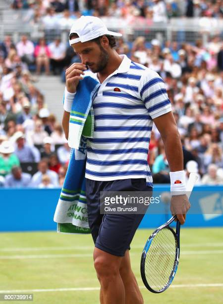 Feliciano Lopez of Spain reacts during the mens singles final against Marin Cilic of Croatia during day seven of the 2017 Aegon Championships at...