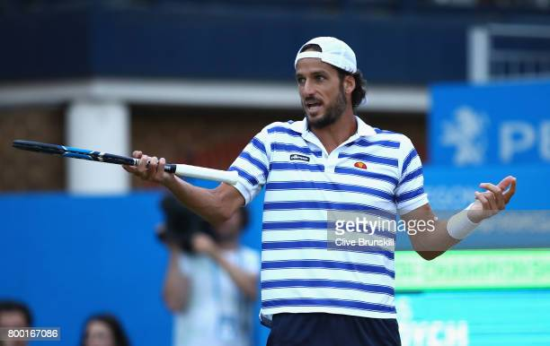 Feliciano Lopez of Spain reacts during the mens singles quarter final match against Thomas Berdych of The Czech Republic on day five of the 2017...