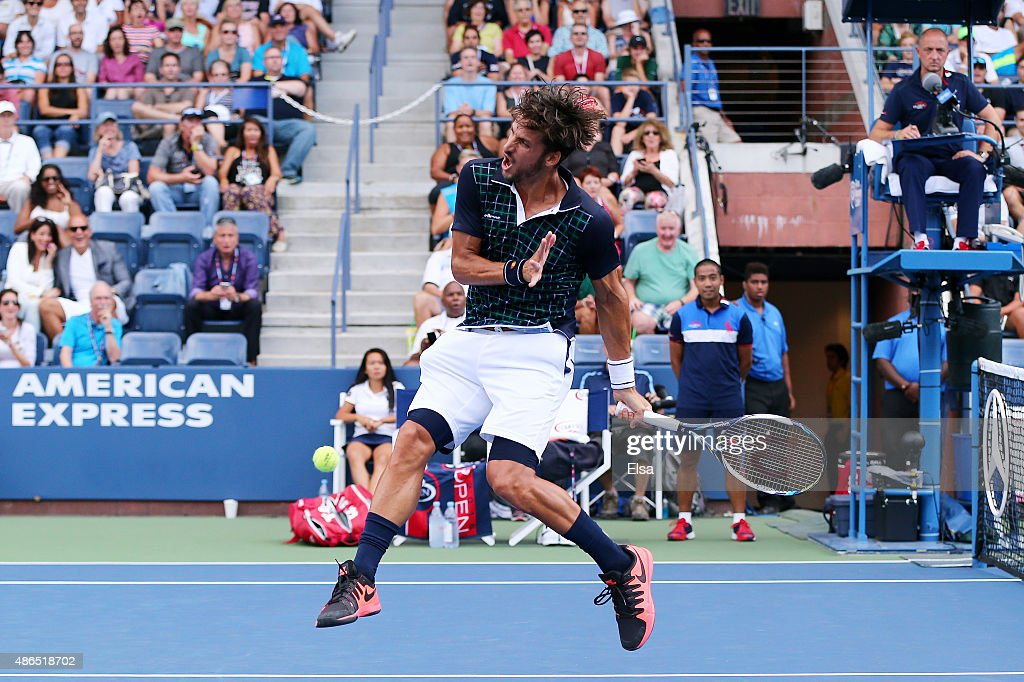 <a gi-track='captionPersonalityLinkClicked' href=/galleries/search?phrase=Feliciano+Lopez&family=editorial&specificpeople=206172 ng-click='$event.stopPropagation()'>Feliciano Lopez</a> of Spain reacts to a shot against Milos Raonic of Canada during their Men's Singles Third Round match on Day Five of the 2015 US Open at the USTA Billie Jean King National Tennis Center on September 4, 2015 in the Flushing neighborhood of the Queens borough of New York City.