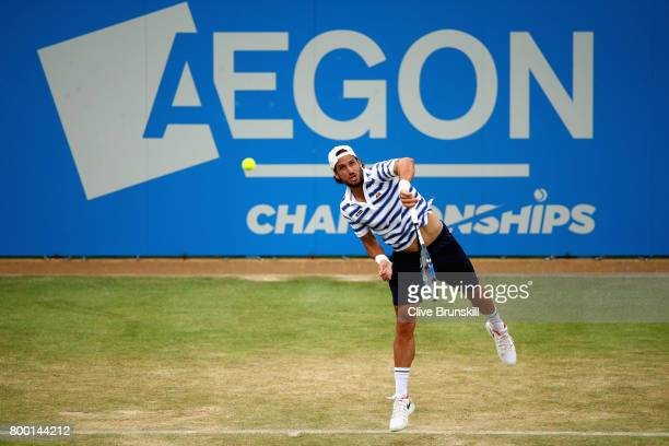 Feliciano Lopez of Spain serves during the mens singles quarter final match against Thomas Berdych of The Czech Republic on day five of the 2017...