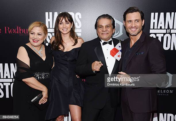 Felicidad Duran Ana de Armas Roberto Duran and Edgar Ramirez attend the 'Hands Of Stone' US premiere at SVA Theater on August 22 2016 in New York City