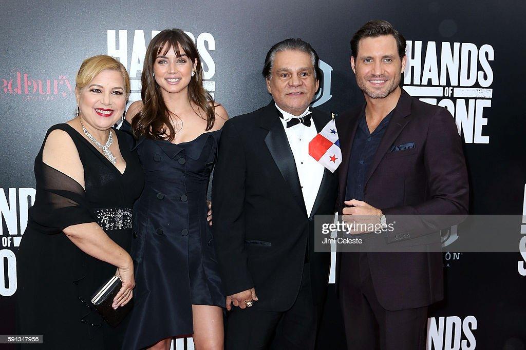 Felicidad Duran Ana De Armas Roberto Duran and Edgar Ramirez attend The Weinstein Company Presents the US Premiere of 'Hands of Stone' at SVA Theater...
