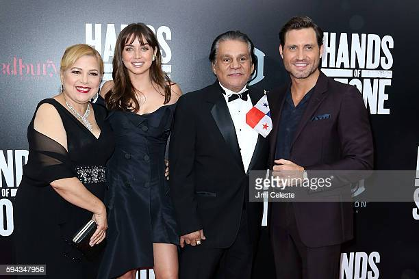 Felicidad Duran Ana De Armas Roberto Duran and Edgar Ramirez attend The Weinstein Company Presents the US Premiere of 'Hands of Stone' at SVA Theater...
