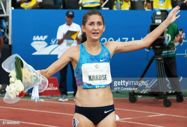 Felicitas Gesa Krause celebrates after winning the 3000m steeplechase at the IAAF Diamond League Mohammed VI Athletics meeting in Rabat on July 16...
