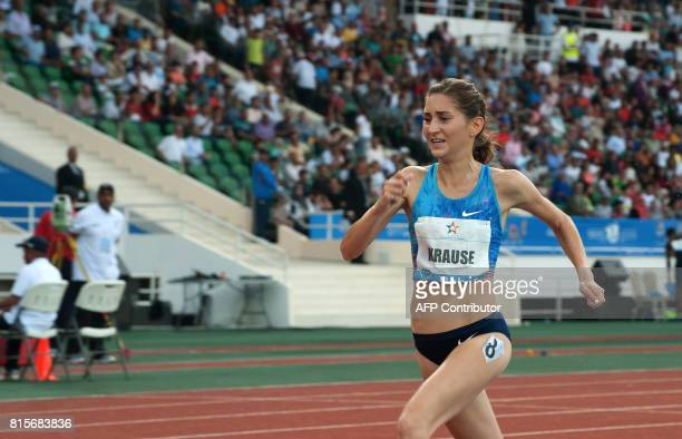 Felicitas Gesa Krause runs to win the 3000m steeplechase at the IAAF Diamond League Mohammed VI Athletics meeting in Rabat on July 16 2017 / AFP...