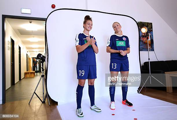 Felicitas Rauch and Lia Waelti of Potsdam during the Allianz Women's Bundesliga Club Tour on September 7 2016 in Potsdam Germany