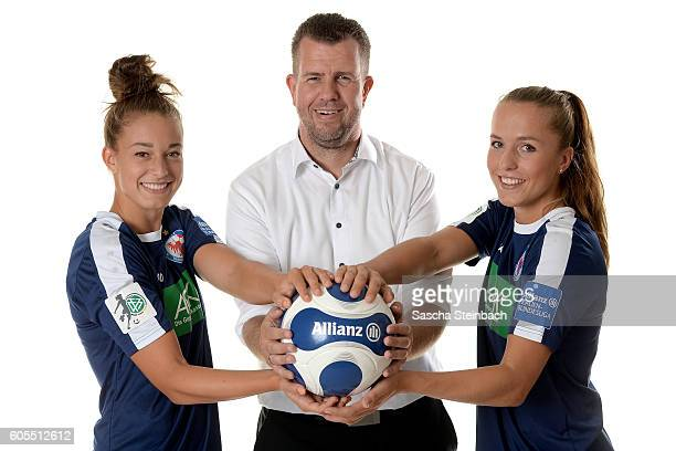 Felicitas Rauch general manager of Allianz insurance Stephan Geisler and Lia Waelti of 1 FFC Turbine Potsdam pose during the Allianz Women's...