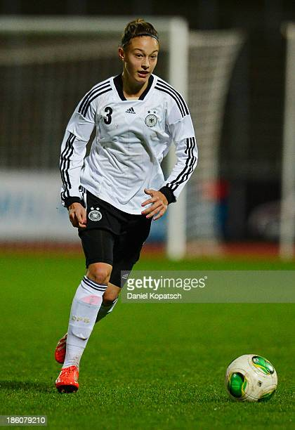 Felicitas Rauch of Germany controls the ball during the women's U19 international friendly match between Germany and Sweden on October 23 2013 in Ulm...