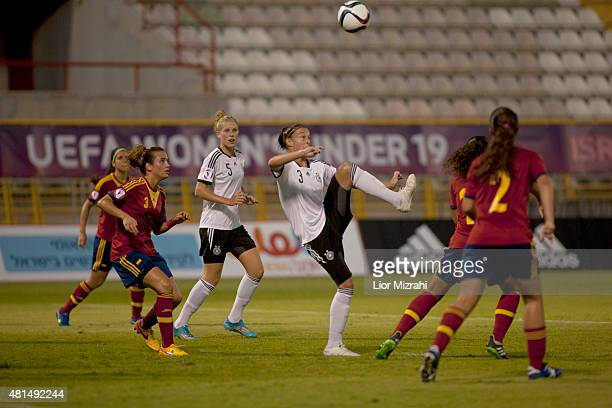 Felicitas Rauch of Germany jumps for the ball during the UEFA Women's Under19 European Championship group stage match between U19 Spain and U19...