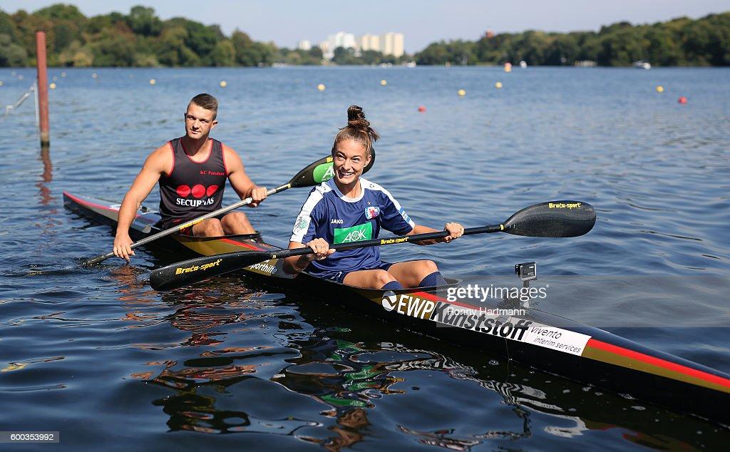 Felicitas Rauch (R) of Turbine Potsdam and kayaker Felix Koenig (L) of KC Potsdam during the Allianz Women's Bundesliga Club Tour on September 7, 2016 in Potsdam, Germany.