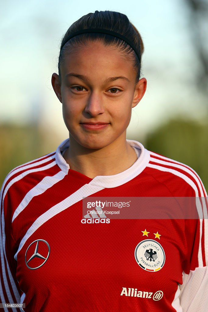 Felicitas Rauch poses during the Germany Women's U17 team presentation at Sport School Wedau on October 27, 2012 in Duisburg, Germany.