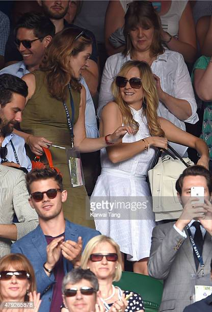 Felicity Blunt and Joanne Froggatt attend the Sam Querry v Roger Federer match on day four of the Wimbledon Tennis Championships at Wimbledon on July...