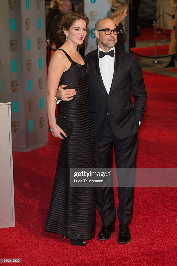 Felicity Blunt and Stanley Tucci attend the EE British Academy Film Awards at The Royal Opera House on February 14, 2016 in London, England.