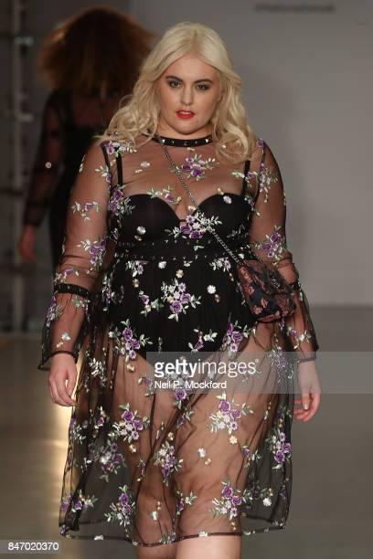 Felicity Hayward walks the SimplyBe 'Curve Catwalk' during London Fashion Week on September 14 2017 in Soho London England
